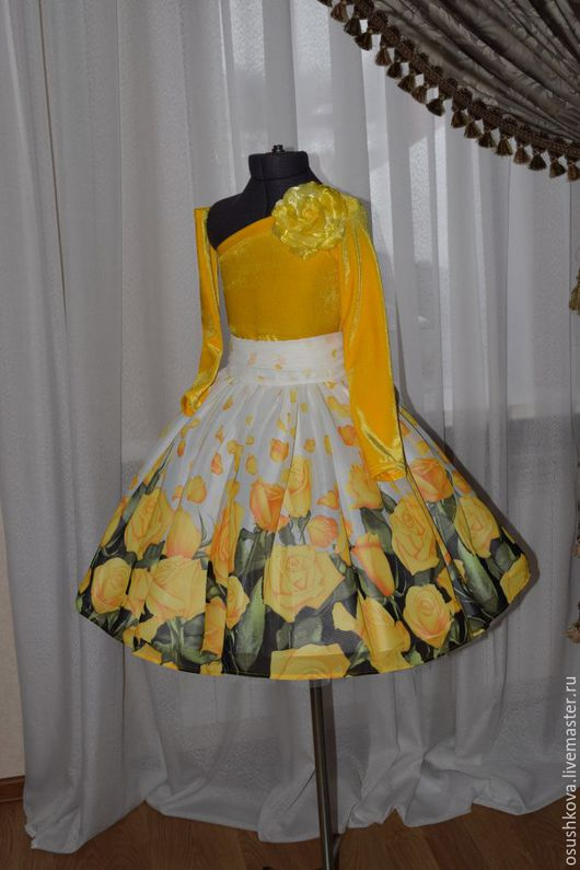 """Одежда для девочек, ручной работы. Ярмарка Мастеров - ручная работа. Купить Комплект """"Желтые розы"""". Handmade. Желтый, платье для фотосессии"""
