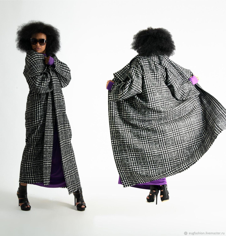 Black and white coat.Coat in the style of boho. Warm coat VE0508WK, Coats, Sofia,  Фото №1