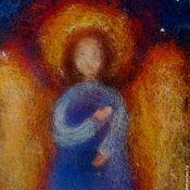 Картины и панно ручной работы. Ярмарка Мастеров - ручная работа Ангел-хранитель - теплая картина из шерсти. Handmade.