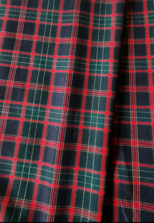 Ткань костюмная клетка стрейч т.синяя с зелёным   , КЛ 01 цв.3, Ткани, Москва,  Фото №1