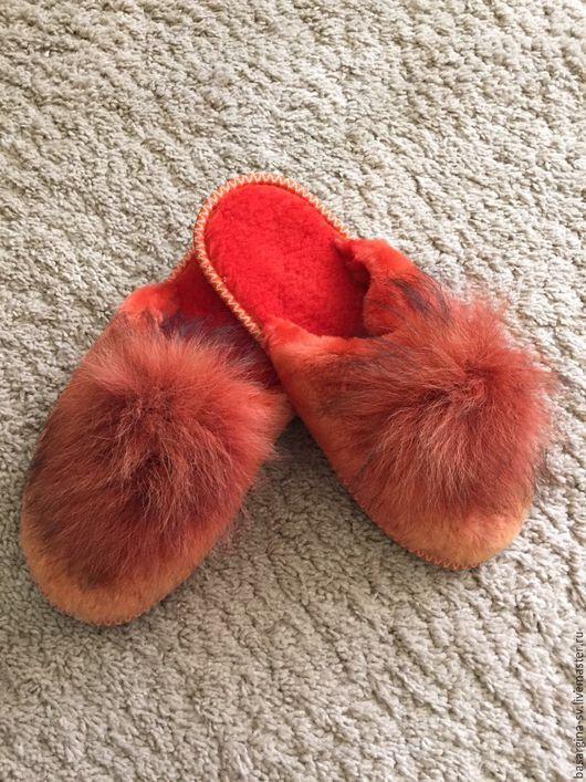 Обувь ручной работы. Ярмарка Мастеров - ручная работа. Купить Тапочки из овчины. Handmade. Комбинированный