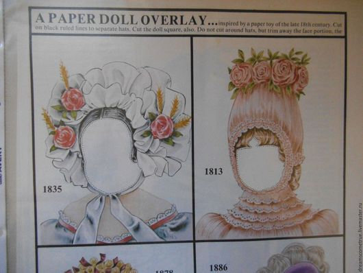 Винтажные куклы и игрушки. Ярмарка Мастеров - ручная работа. Купить Бумажная кукла-головка со шляпками. Handmade. Комбинированный, бумага