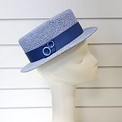 Аксессуары handmade. Livemaster - original item Straw hat Boater. Color blue. Handmade.