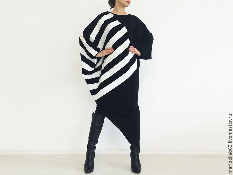 Womens sweater Asymmetrical sweater Dress-sweater - BLACK AND WHITE, Dresses, Sofia,  Фото №1
