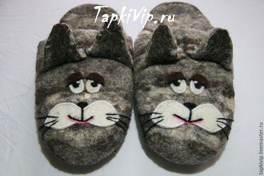 Обувь ручной работы. Ярмарка Мастеров - ручная работа. Купить Тапки Коты. Handmade. Тапочки, тапочки из войлока, тапки из шерсти