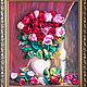 Картина из атласных лент`Розы и свеча* от Марии Людвиг
