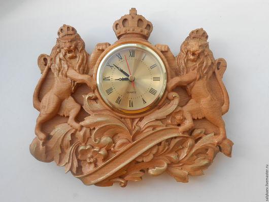 """Часы для дома ручной работы. Ярмарка Мастеров - ручная работа. Купить Часы """"Львы"""". Handmade. Часы резные, часы настенные"""