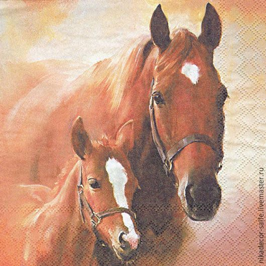 Декупаж и роспись ручной работы. Ярмарка Мастеров - ручная работа. Купить Лошадь с жеребенком (13307350) 33х33 салфетка для декупажа. Handmade.