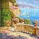 Пейзаж ручной работы. Ярмарка Мастеров - ручная работа. Купить Картина маслом Средиземноморье. Handmade. Цветы, голубой, дерево