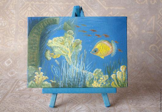 """Пейзаж ручной работы. Ярмарка Мастеров - ручная работа. Купить Миниатюра """"Подводный мир"""". Handmade. Тёмно-синий, подводный мир"""