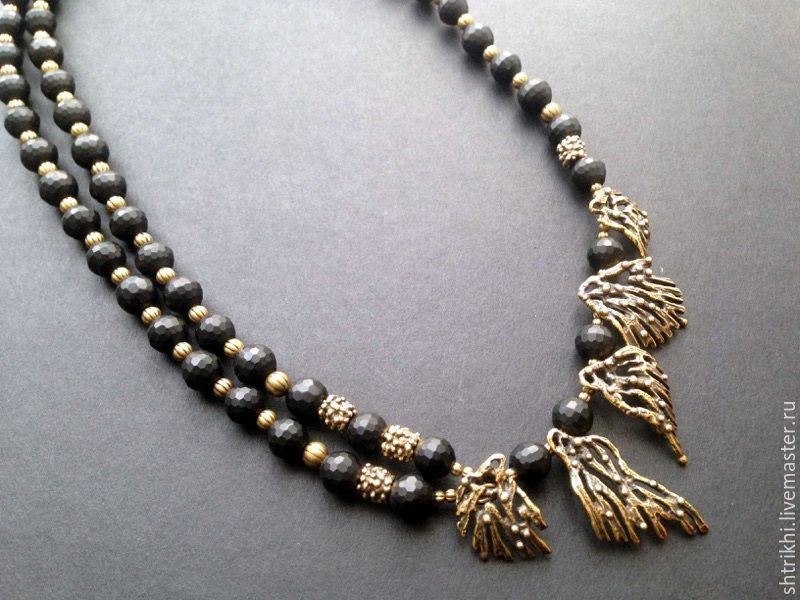 Necklace Favorite. Black matte jet and antique brass, Necklace, Moscow,  Фото №1