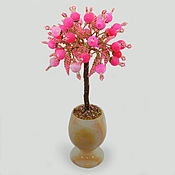 Цветы и флористика handmade. Livemaster - original item Trees: Tree of love pink agate in a vase of onyx. Handmade.