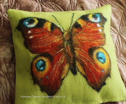"""Текстиль, ковры ручной работы. Ярмарка Мастеров - ручная работа. Купить Интерьерная подушка """"Павлиний глаз"""". Handmade. Рыжий"""