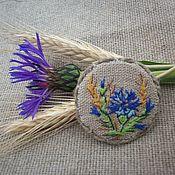 Украшения handmade. Livemaster - original item Linen brooch with hand embroidery... cornflowers... Spikelets.... Handmade.