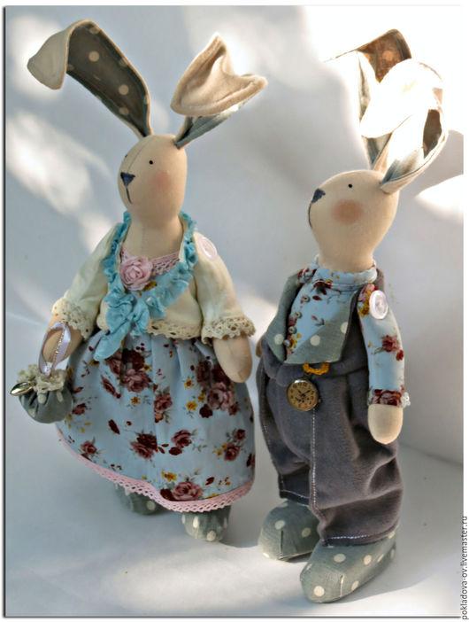 Куклы Тильды ручной работы. Ярмарка Мастеров - ручная работа. Купить Игрушка в стиле Тильда Пара Зайцев респектабельная. Handmade.