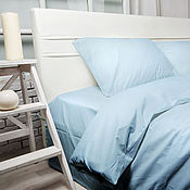 Для дома и интерьера handmade. Livemaster - original item Gift for him Blue bedding Blue Duvet Cover Set 100% cotton satin. Handmade.