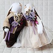 Куклы и игрушки ручной работы. Ярмарка Мастеров - ручная работа Зайцы. Свадебные зайцы в цвете айвори, шоколад, слива.. Handmade.