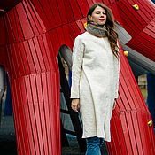 Одежда handmade. Livemaster - original item Felted coat White Flax. Handmade.