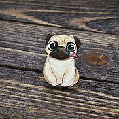Украшения handmade. Livemaster - original item Wooden icon Cute Pug. Handmade.