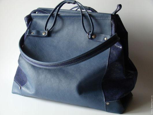 Женские сумки ручной работы. Ярмарка Мастеров - ручная работа. Купить Сумка вместительная Синяя. Handmade. Тёмно-синий, однотонный
