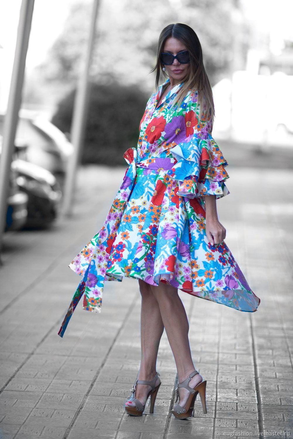 Summer shirt dress with flounces and floral print - DR0168CT, Dresses, Sofia,  Фото №1