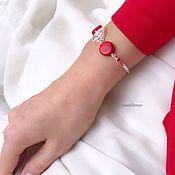 handmade. Livemaster - original item Coral Reef bracelet bright red on a chain. Handmade.