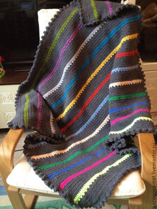 Текстиль, ковры ручной работы. Ярмарка Мастеров - ручная работа. Купить Плед вязаный в полоску. Handmade. Плед, подарок девочке