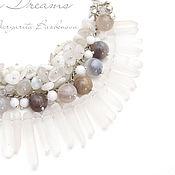 Украшения handmade. Livemaster - original item Thaw necklace multi-row chain necklace rhinestone agate white. Handmade.