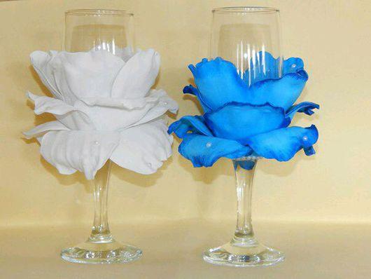 Свадебные аксессуары ручной работы. Ярмарка Мастеров - ручная работа. Купить Свадебные бокалы с розой из фоамирана. Handmade. Свадебные аксессуары
