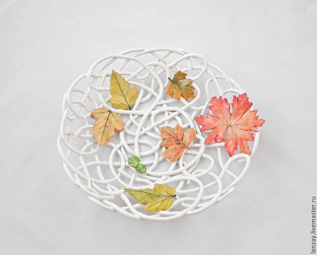 The bottom `Autumn in the Park`. Braided ceramic and ceramic flowers Elena Zaichenko
