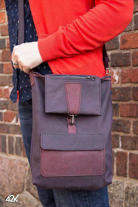 Женские сумки ручной работы. Ярмарка Мастеров - ручная работа. Купить Сумка-рюкзак кожаная Transform. Handmade. Тёмно-фиолетовый
