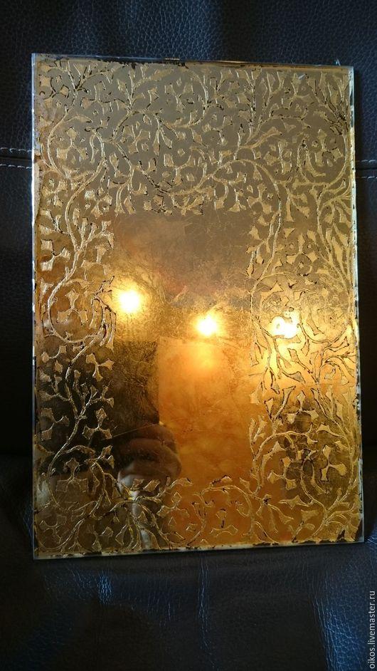 Зеркала ручной работы. Ярмарка Мастеров - ручная работа. Купить Состаренное настенное орнаментальное зеркало (поталь) в стиле ар деко. Handmade.