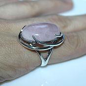 """Кольца ручной работы. Ярмарка Мастеров - ручная работа Кольцо """"Есения"""" розовый кварц, серебрение 925 пробы. Handmade."""