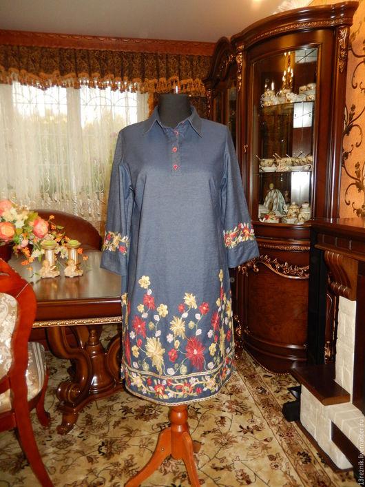 Платья ручной работы. Ярмарка Мастеров - ручная работа. Купить Платье-рубашка большого размера.. Handmade. Платье, для девушки, пошив