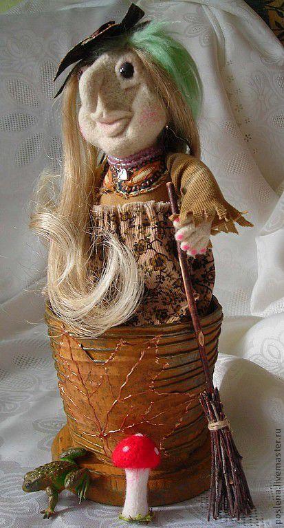 Сказочные персонажи ручной работы. Ярмарка Мастеров - ручная работа. Купить Молодая Ягулечка кукла валяная. Handmade. Яга, ткань
