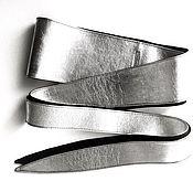 Ремни ручной работы. Ярмарка Мастеров - ручная работа Кожаный пояс кушак двусторонний Black & Silver. Handmade.