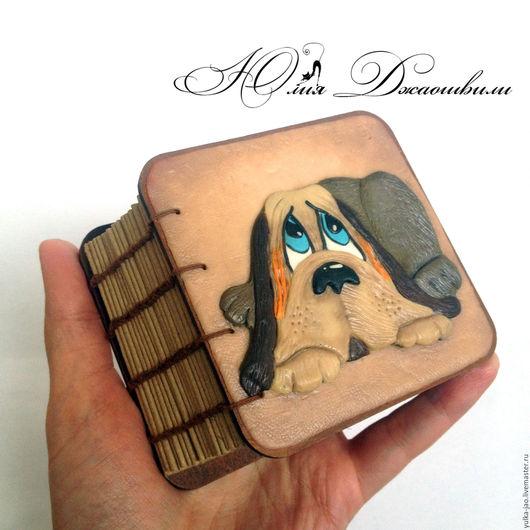 Деревянный блокнот, блокнот ручной работы, купить блокнот, блокнот купить, изготовление блокнотов, блокнот с нуля, полимерная глина, красивый блокнот, авторский блокнот, подарок ручной работы, собака