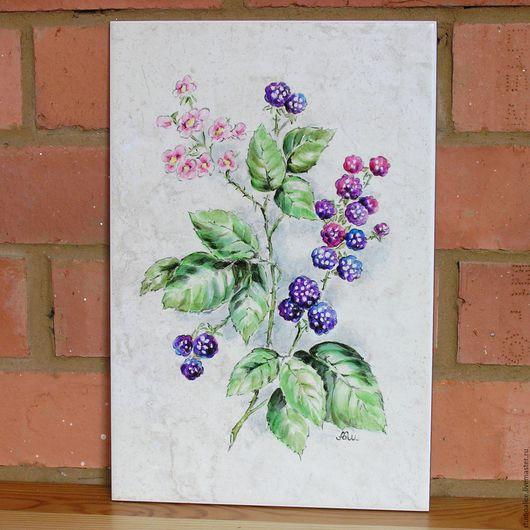 Натюрморт ручной работы. Ярмарка Мастеров - ручная работа. Купить Ботанический рисунок на плитке Ежевика. Handmade. Фиолетовый, ягоды
