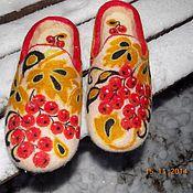 """Обувь ручной работы. Ярмарка Мастеров - ручная работа тапочки """" Зимняя Хохлома"""". Handmade."""
