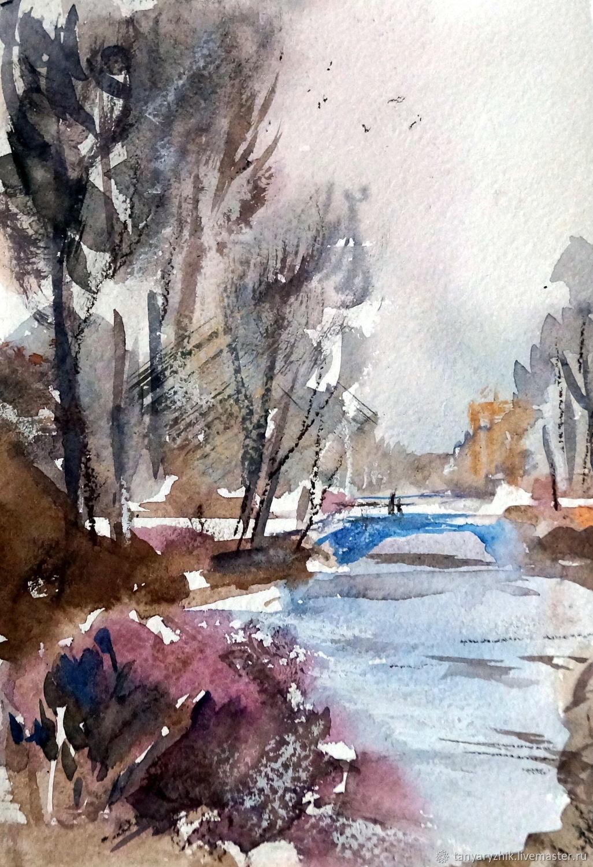 Миниатюра акварелью. Зимний парк, Картины, Санкт-Петербург,  Фото №1