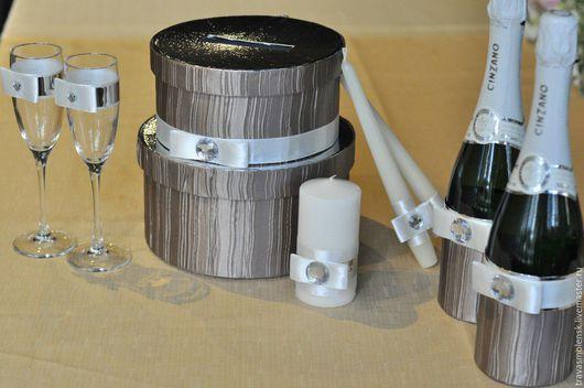 """Свадебные аксессуары ручной работы. Ярмарка Мастеров - ручная работа. Купить """"Зеркала и кристаллы"""" свадебный набор. Handmade. Серый"""