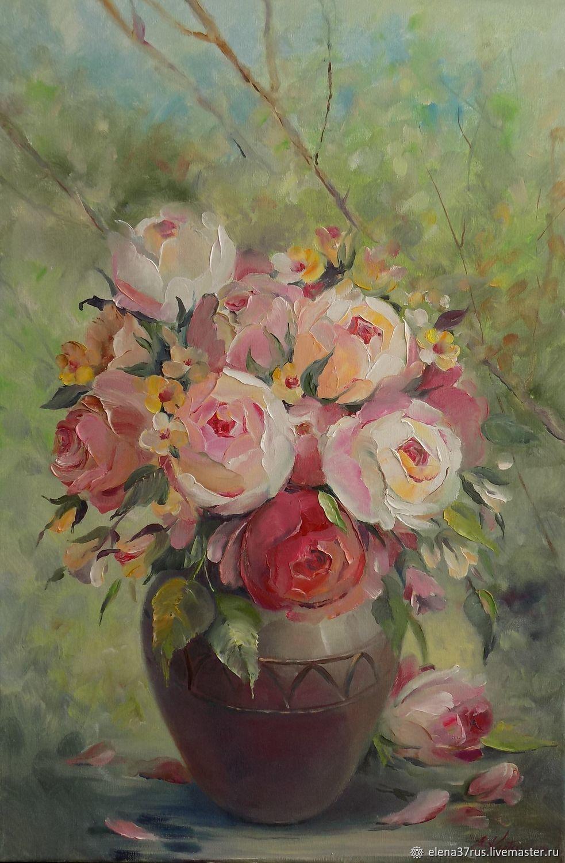 Розы в саду.Холст/масло, Картины, Иваново, Фото №1