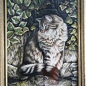 Картины и панно ручной работы. Ярмарка Мастеров - ручная работа Вышитая картина Кот (ручная вышивка крестиком) размер 78см х 57см. Handmade.