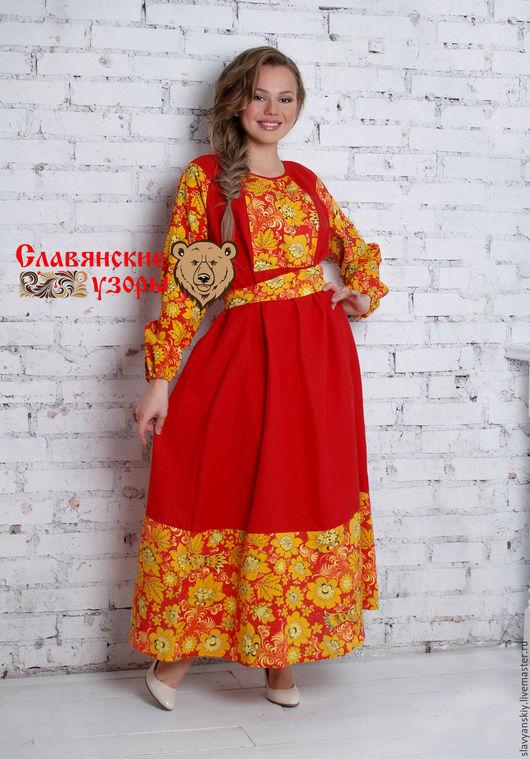 """Платья ручной работы. Ярмарка Мастеров - ручная работа. Купить Платье """"Хохлома"""" красная. Handmade. Ярко-красный, русская одежда"""