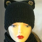 Аксессуары handmade. Livemaster - original item HAT-the CAT with ears for girls knitted black. Handmade.