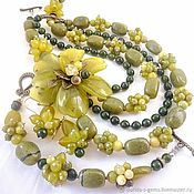Украшения handmade. Livemaster - original item NECKLACE 4 strands BRACELET EARRINGS luxury flower JADE, JASPER beads. Handmade.