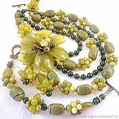 Necklace handmade. Livemaster - original item NECKLACE 4 strands BRACELET EARRINGS luxury flower JADE, JASPER beads. Handmade.