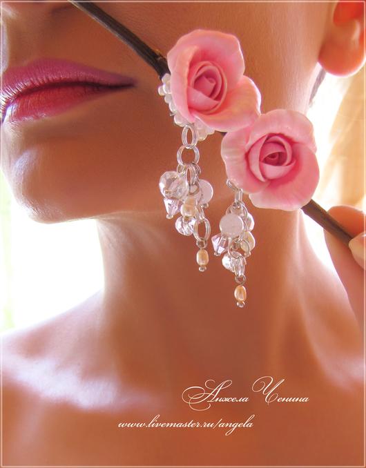 Серьги ручной работы. Ярмарка Мастеров - ручная работа. Купить Маленькие серьги с розами. Handmade. Серьги розовые розы