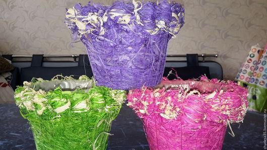 Материалы для флористики ручной работы. Ярмарка Мастеров - ручная работа. Купить Кашпо круглое из листьев кукурузы. Handmade. Комбинированный