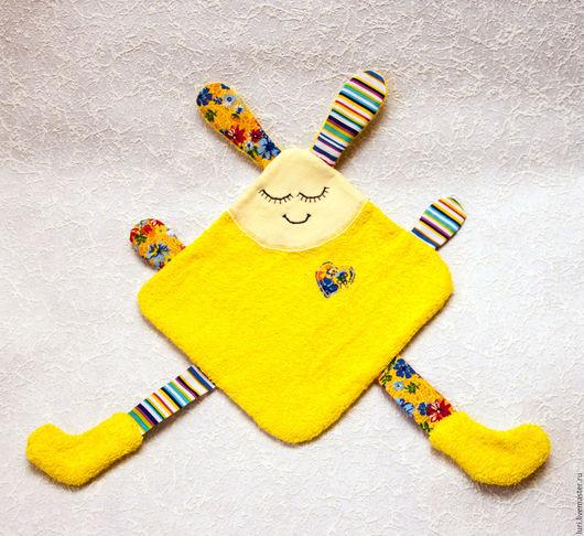 Развивающие игрушки ручной работы. Ярмарка Мастеров - ручная работа. Купить Игрушка для малышей Дуду Зайчик. Handmade. Желтый, комфортер